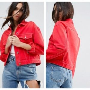 Asos Denim Jacket Red Contrast Threads US 6 NWT